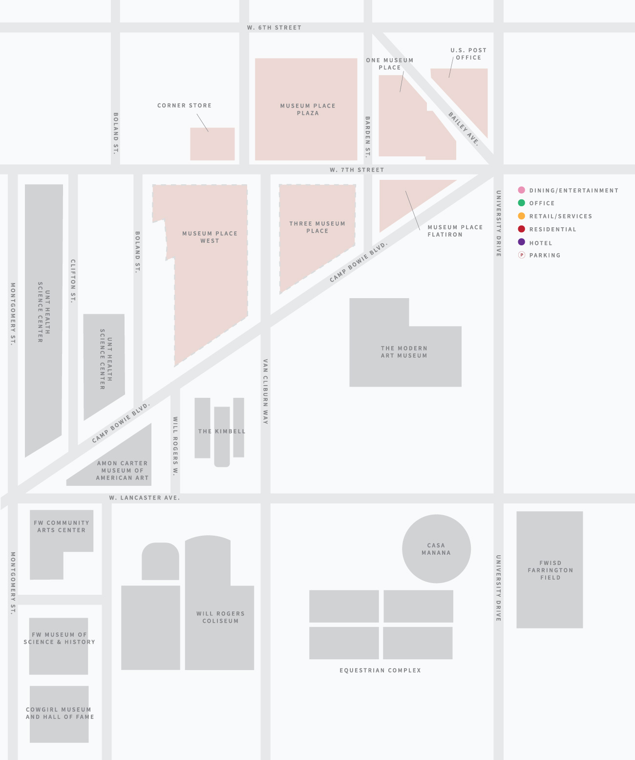 Map Page | Museum Place | Fort Worth | Cultural District | Retail